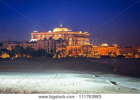 ABU DHABI, UAE - MARCH 28: Luxury Emirates Palace hotel in Abu Dhabi on March 28, 2014, UAE. Five stars Emirates Palace is the second most expensive hotel ever built for about 6 billion USD.