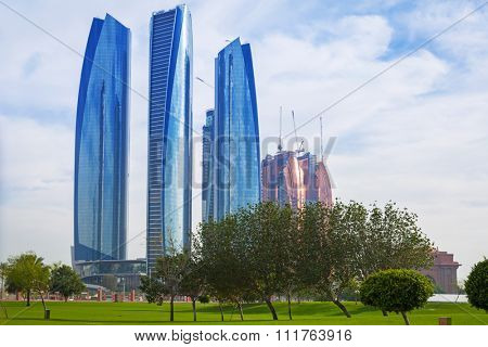 ABU DHABI, UAE - MARCH 29: Etihad Towers buildings in Abu Dhabi on March 29, 2014, UAE. Five towers complex with 74 floors is the third tallest building in Abu Dhabi.