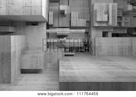 Abstract Concrete Interior With Chaotic Cubes 3D