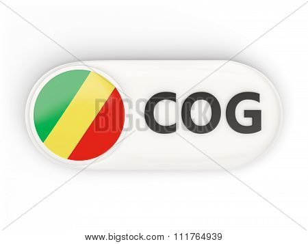 Round Icon With Flag Of Republic Of The Congo
