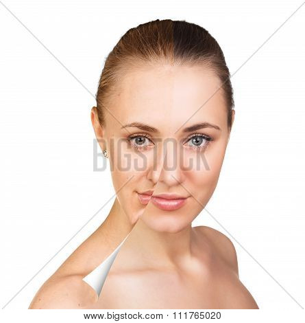 Young woman skin care concept.