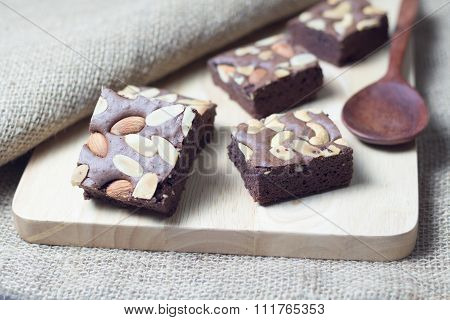 Brownies On A Wood Texture