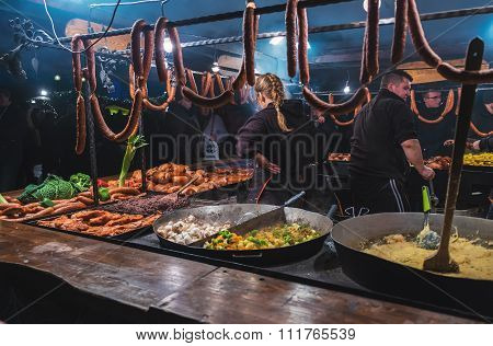 Krakow, Poland - December 12 2015: Traders Sell Most Popular Meat Meals Fast Food To Tourists On The