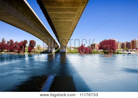 concrete bridge and river
