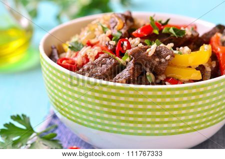 Meat Ragout With Bell Pepper And Rice.