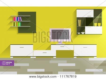 Abstract Flat Interior Desing. Vector