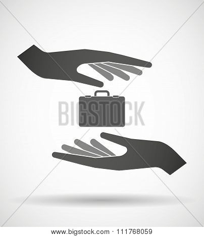 Two Hands Protecting Or Giving  A Breiefcase