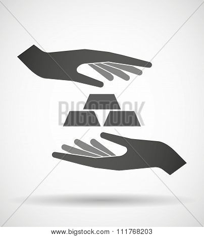 Two Hands Protecting Or Giving Three Gold Bullions
