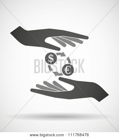 Two Hands Protecting Or Giving A Dollar Euro Exchange Sign