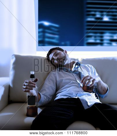 Drunk Business Man Wasted And Whiskey Bottle In Alcoholism Concept