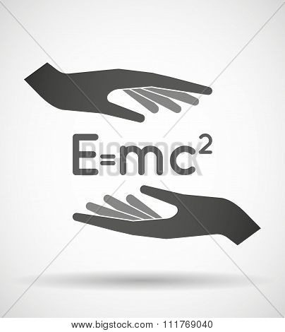 Two Hands Protecting Or Giving The Theory Of Relativity Formula