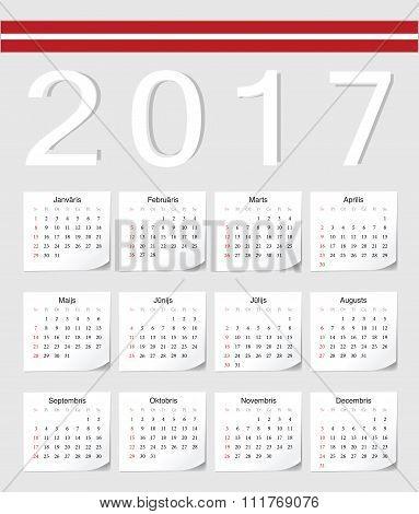Latvian 2017 Calendar