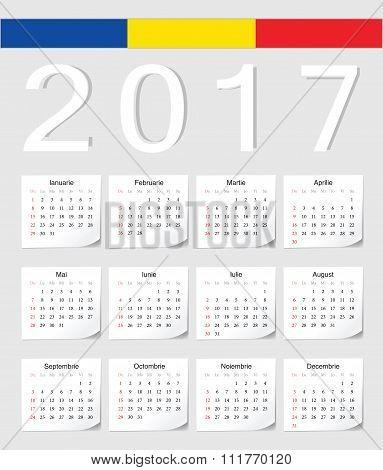 Romanian 2017 Calendar