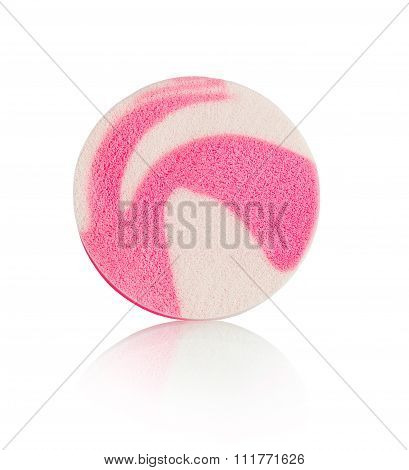 Face Sponge For Cosmetics With Reflection Isolated On White Background