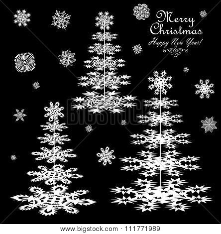 Paper conifers and snowflakes for winter design