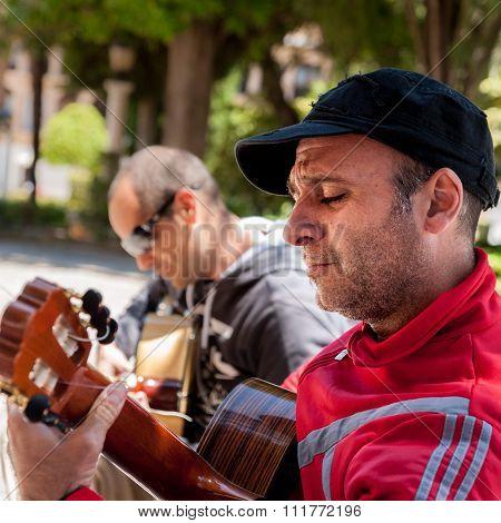 Street guitarists in Ronda Spain