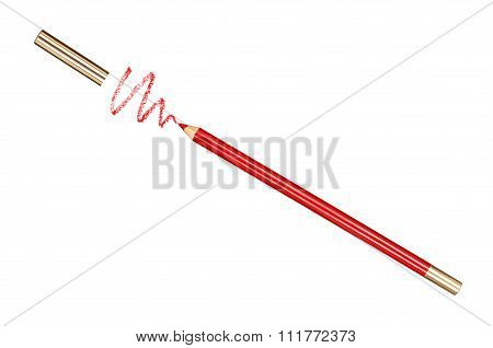 Red Cosmetic Pencil And Stroke Isolated  Isolated On White Background