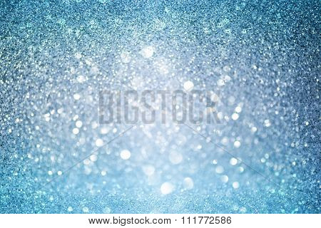 White Blue And Grey Abstract Bokeh Lights. Defocused Background