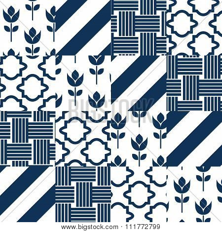 Patchwork quilt vector pattern tiles.