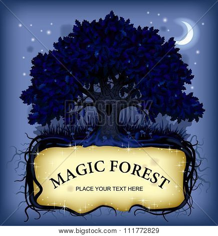Old-fashioned banner with fairy-tale rooted oak tree at night. Magic forest concept vector illustration