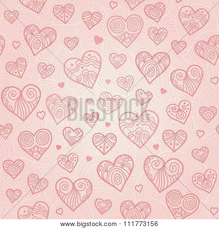 Ornamental Seamless Pattern With Lacy Hearts.