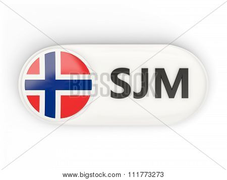 Round Icon With Flag Of Svalbard And Jan Mayen