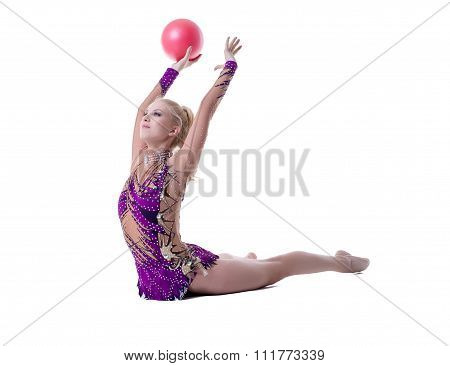 Image of rhythmic gymnast performs with ball