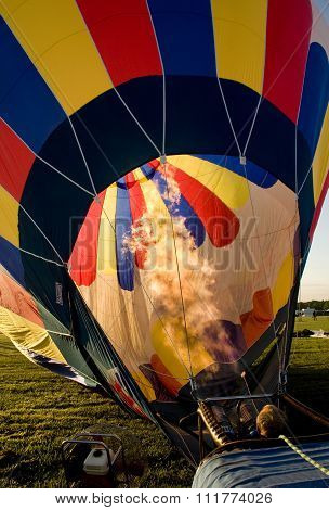 Hot Air Balloon Being Inflated In Preparation For Flight