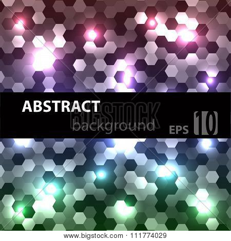 Blue abstract techno background with hexagons and glowing sparks. Vector