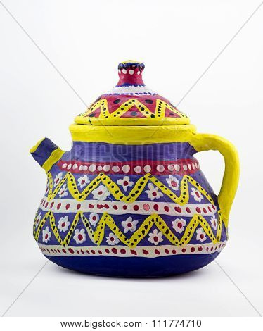 Painted Pottery Kettle