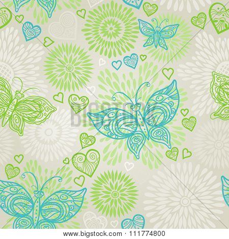Green Seamless Pattern With Lacy Butterflies.
