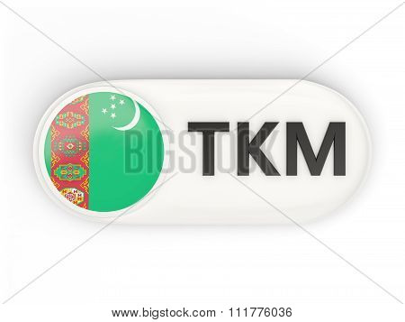 Round Icon With Flag Of Turkmenistan