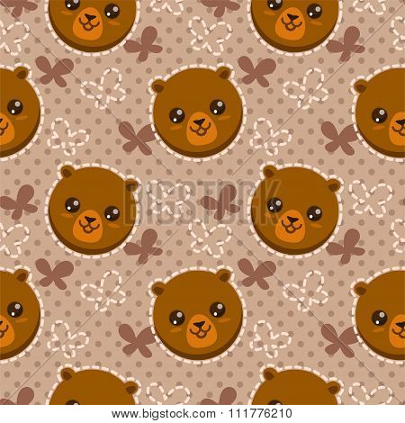 Seamless pattern with cute bear faces