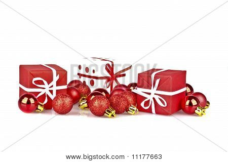 Christmas presents and decoration on a white background