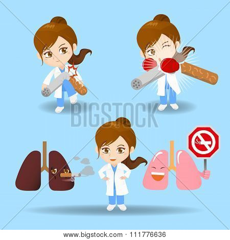 Cartoon Doctor Woman With Cigarette