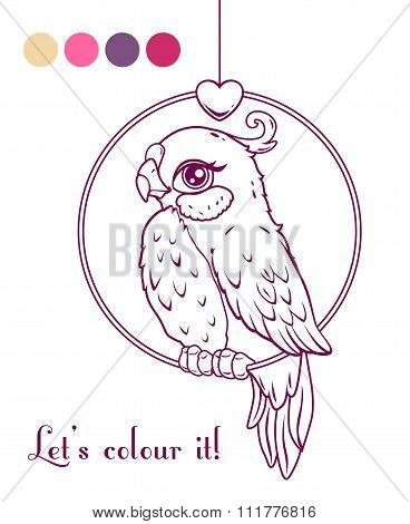 Cute girl bird contour illustration