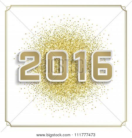 Happy New Year 2016 Greeting card and Golden Sparkles Confetti