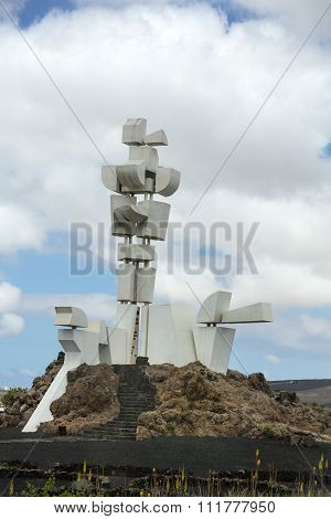 MOZAGA,  LANZAROTE,  SPAIN - SEPTEMBER 9 2015: The Monumento al Campesino in Mozaga erected by the artist Cesar Manrique in the year 1986 is a memorial in honour of the hard working peasant farmers of Lanzarote