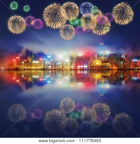 Beautiful fireworks in Hong Kong and Financial district