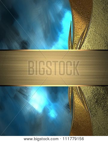 Background For Text Blue With Gold. Element For Design. Template For Design. Copy Space For Ad Broch