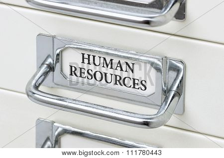 A Drawer Cabinet With The Label Human Resources