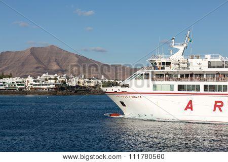 LANZAROTE SPAIN - SEPTEMBER 9 2015: Canary Island Ferry Sails from Playa Blanca Lanzarote and Corralejo Fuerteventura