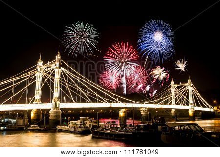 Guy Fawkes Fireworks Over Albert Bridge.