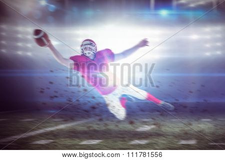 American football player scoring a touchdown against american football arena