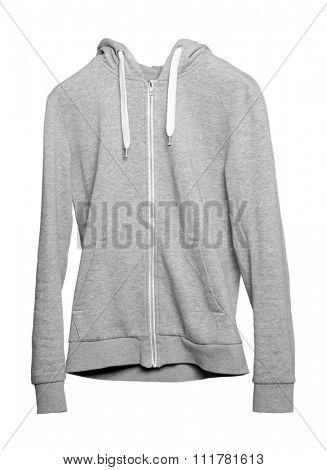 Gray hoodie isolated on white background