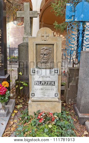 Writer Patrik Blazek Tomb In Vysehrad Cemetery, Prague