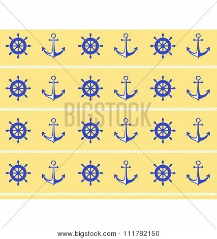 Seamless sea pattern. Blue wheel and stern anchor on yellow
