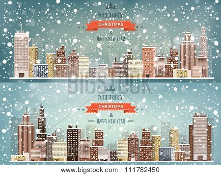 Vector illustration. Winter urban landscape. City with snow. Christmas and new year.  Cityscape. Bui