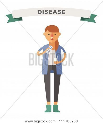 Illness girl vector illustration