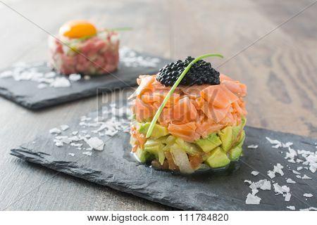 Steak tartar and salmon tartar